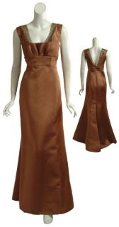 Angel Sanchez Copper Beaded Eve Gown Dress $6490 10 New