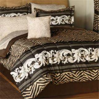 Zebra Leopard Print Microfiber King Comforter Sheet Set African