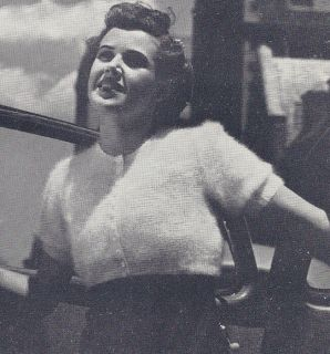 Vintage Knitting Pattern Knitted Angora Empire Jacket Cardigan Sweater