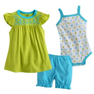 NWT Vaenait Baby Newborn Baby Girls Dress Bodysuit Pants 3 Set Green