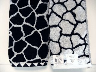 Set 2 Hand Towels Giraffe Animal Print Black White KARIBU Cotton