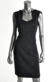 Anne Klein New Navy Wool Darted V Neck Sheath Wear to Work Dress 8