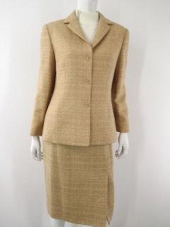 Pants Skirt Jacket Beige Anne Klein L 10 8 Wool Blend Career