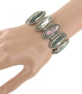 Vintage Silver Mexico Large Abalone Oval Shell Link Bracelet Wide