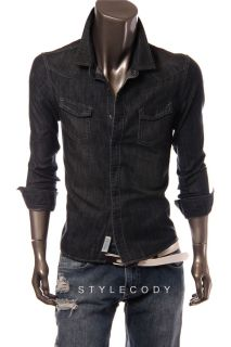 New Andrew Marc Moto Mens Snap Button Down Pocket Denim Shirt Dark