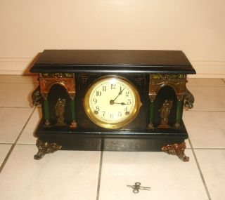Antique Sessions Mantle Clock Runs Chimes