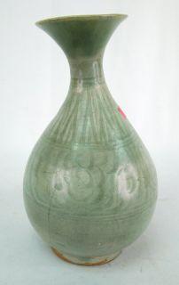 Antique 17c Ming Dynasty Chinese Green Celadon Glaze Porcelain Bottle