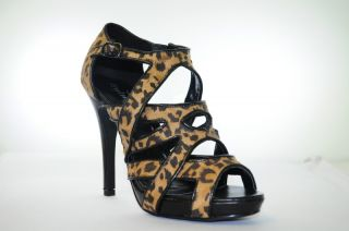Styluxe Women Leopard Print Cut Out Strappy Bootie Cake