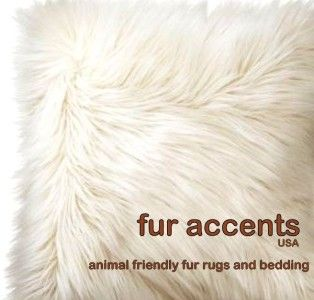 Faux Fur Accent Rug White Bear Sheepskin Mink Wolf Plush Pelt Throw