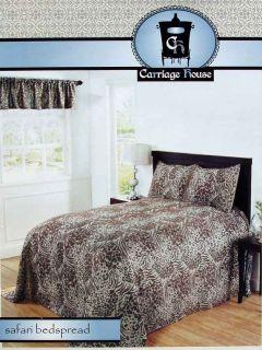 Safari Animal Print Chocolate Full Bedspread Shams Valance 4pc Bedding