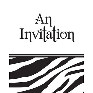 Zebra Print INVITATIONS (8 count) Birthday Party Supplies Decorations