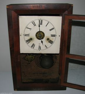 Antique Seth Thomas Mantel Shelf Key Wind Alarm Clock