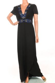 SS334 ALICE by TEMPERLEY Long Monte Black Beaded Maxi Dress SZ UK 12
