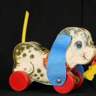 Vintage Wooden Fisher Price Antique Dog Pull Toy 626 FROM1963