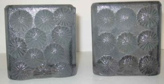 Vintage Blenko Solid Clear Glass Ice Block Bookends Button Shell