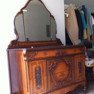 Antique Dresser with Matching Vanity Mirror