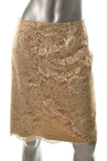 Anne Klein New York New Gold Lace A Line Skirt Sale 14