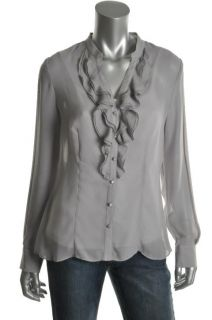 Anne Klein New Gray Sheer Ruffled Front V Neck Button Down Top Blouse