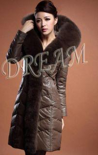 Hood Genuine Real Fox Fur Pelt Sheep Leather Down Long Coat/Jacket