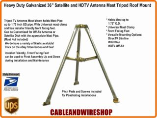 Foot Galvanized Steel Satellite TV Antenna Tripod Roof Mount