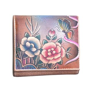 Anuschka Genuine Leather Ladies Small TriFold Hand Painted Rose
