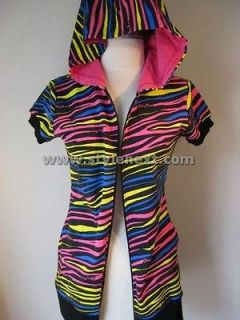 abbey dawn zebra short sleeve hoodie mixed color 128 more