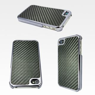 Apple iPhone 4 Carbon Fiber Hard Case Black Verizon 4S at T Protector