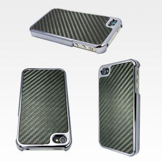 Apple iPhone 4 Carbon Fiber Hard Case Black Verizon 4S at T Protector