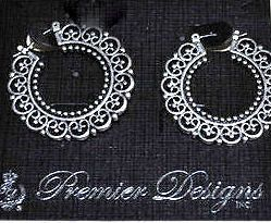 Premier Designs Addison Earrings Jewelry Filigree Scroll Style Hoops