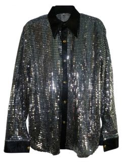 Men 70s Band Sequin Cabaret Party Shirt Silver Black