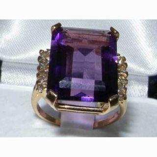 SOLID 9CT YELLOW GOLD HUGE EMERALD CUT 5CT AMETHYST AQUAMARINE RING