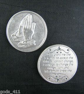 LOT OF 3 Serenity Prayer Poem with Praying Hands Silver Plated Pocket