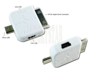 Dual Mini USB to Micro USB for iPhone 4 3GS Adapter A14