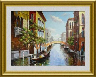 VENICE OIL PAINTING:ARCH BRIDGE ON THE CANAL 36x48 (90X120CM)