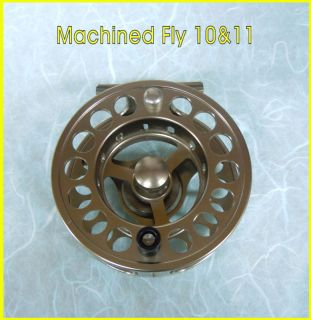 Machined Large Arbour 10 11 Fly Reel Champagne Gold