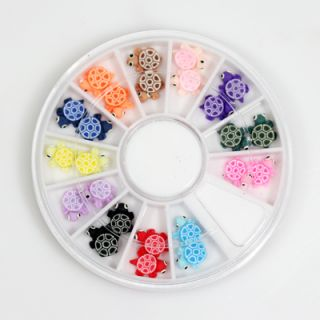 Ceramic Tortoise Nail Art Decoration Tools 24 pcs in 1 wheel Free Glue