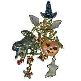 NEW KIRKS FOLLY HALLOWEEN HARVEST ANGEL PIN WITH CHARMS ~ GOLDTONE
