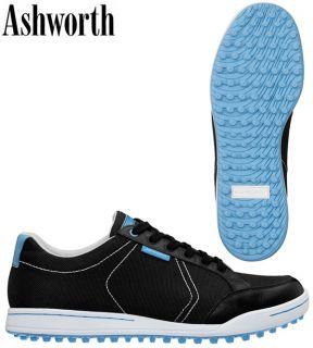 ASHWORTH CARDIFF CANVAS MENS 10.5 M BLACK/LIGHT BLUE GOLF SHOES