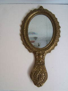 Antique Victorian Brass Hand Mirror All Original Fancy Peacock on