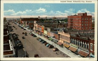 Arkansas City KS Summit Street Scene Postcard