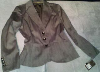 Ladies cute buttoned Spring JACKET by MERONA ~ brown grey lined Women