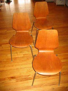 ARNE JACOBSEN STYLE ANT CHAIRS MID CENTURY MODERN DANISH 1950S
