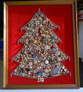 Vintage ART DECO and UP Rhinestone Jewelry Christmas Tree Framed Art