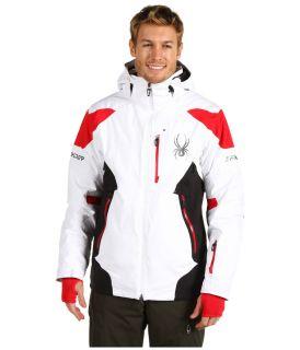 Brand New Spyder Mens Large White / Black / Red Leader Ski Jacket $