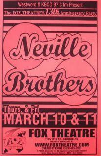 Neville Brothers Boulder Original Rock Concert Poster