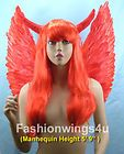Red FIRE BIRD devil fairy costume feather angel wings