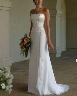 Simple Chiffon White/Ivory Bridesmaid Wedding Dress Bridal Gown