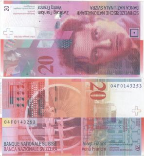 Switzerland 20 Francs P 69 aXF Note Arthur Honegger 2005