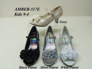 New Little Angels Big girls satin pearl 4 rose flower ankle strap heel