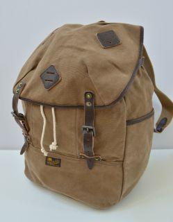 Mens Polo Ralph Lauren Canvas Leather Backpack Bag Light Brown Khaki